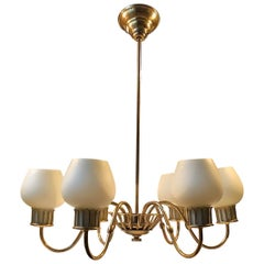 Scandinavian Brass Chandelier with Opaline Glass Shades by Josef Frank