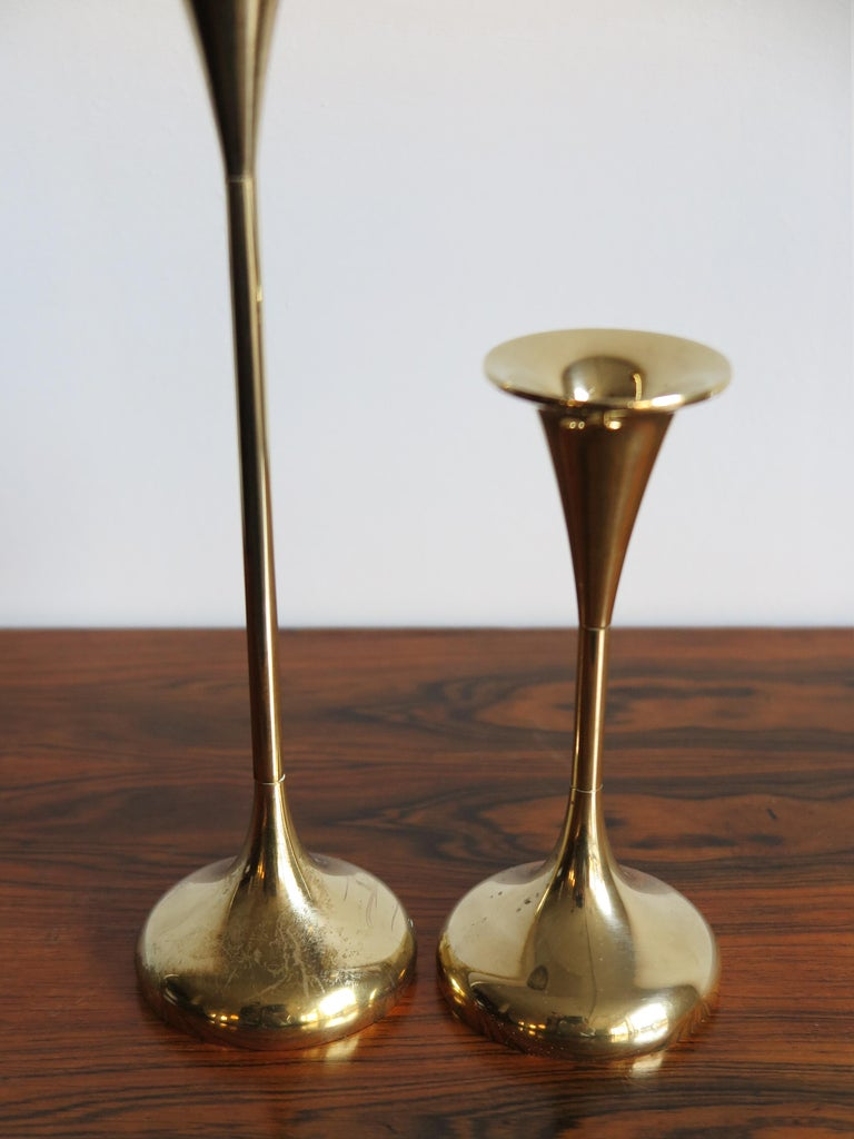 Scandinavian Modern Scandinavian Brass Midcentury Candle Holders, 1950s For Sale