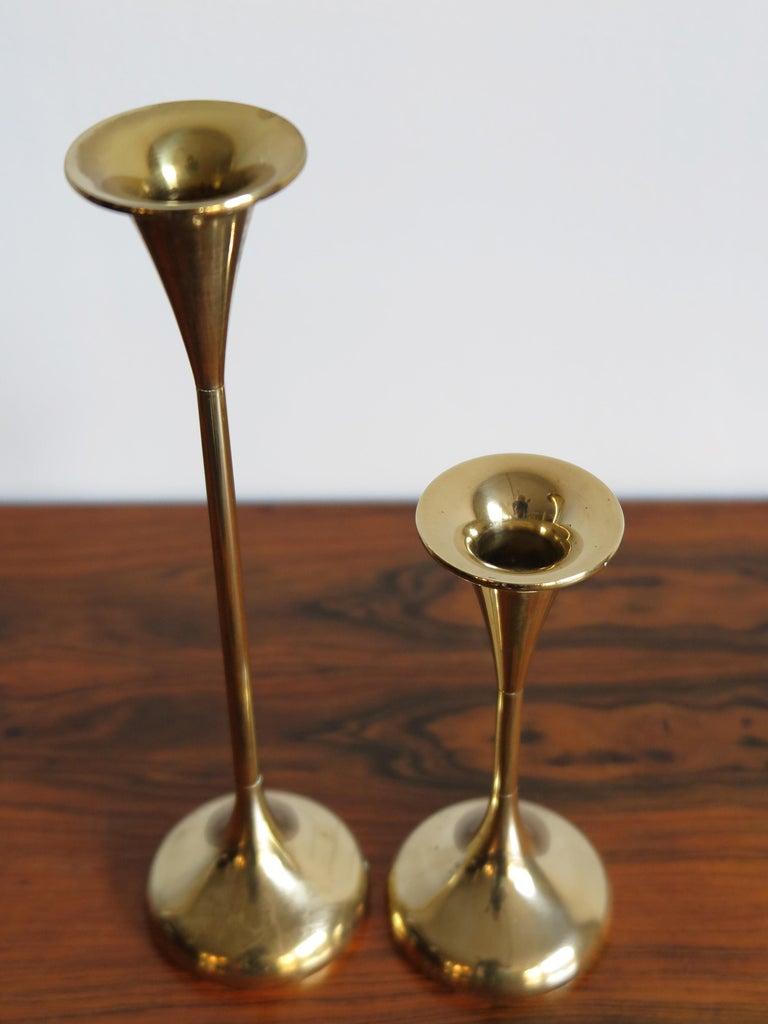 Danish Scandinavian Brass Midcentury Candle Holders, 1950s For Sale