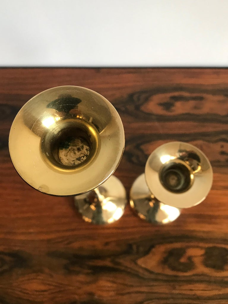 Scandinavian Brass Midcentury Candle Holders, 1950s In Good Condition For Sale In Modena, IT