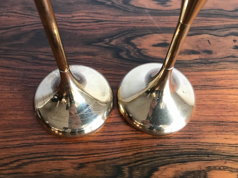 Mid-20th Century Scandinavian Brass Midcentury Candle Holders, 1950s For Sale