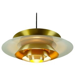Scandinavian Brass Pendant Attributed to Jo Hammerborg for Fog and Morup Denmark