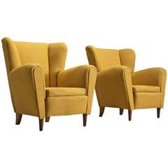 Scandinavian Bright Yellow Lounge Chairs, 1950s