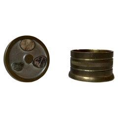 Scandinavian Bronze Snuff Box, Trinket with Inlaid Minerals Samples, 1950s