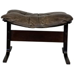 Scandinavian Brown Leather Stool by Ingmar Relling for Westnofa