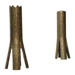 Scandinavian Brutalist Candlesticks in Brass, 1960s