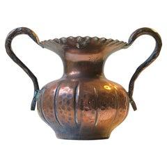 Scandinavian Brutalist Vase in Hand-Embossed Copper, 1970s