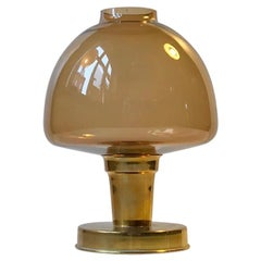 Scandinavian Candle Lamp in Brass and Smoke Glass, 1960s