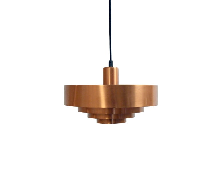 Mid-Century Modern Scandinavian Ceiling Light in Copper by Jo Hammerborg, Denmark, 1950s For Sale