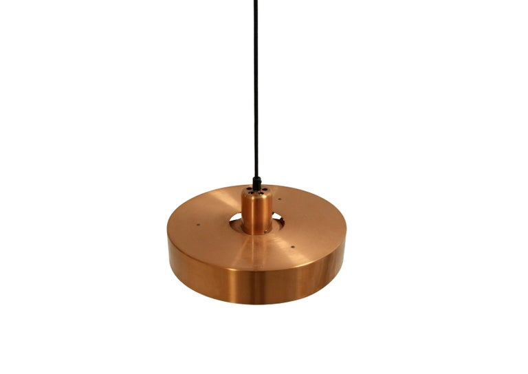 Danish Scandinavian Ceiling Light in Copper by Jo Hammerborg, Denmark, 1950s For Sale
