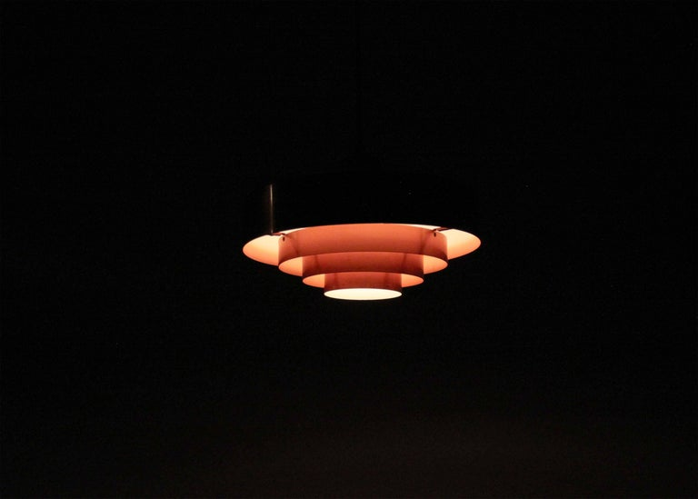 Scandinavian Ceiling Light in Copper by Jo Hammerborg, Denmark, 1950s For Sale 1