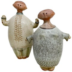 Scandinavian Ceramic Pottery Figures Attributed to Lisa Larson
