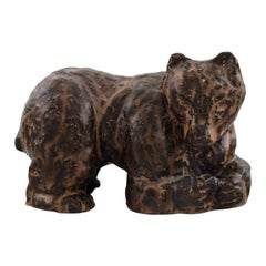 Scandinavian Ceramist, Unique Figure of Brown Bear in Glazed Stoneware