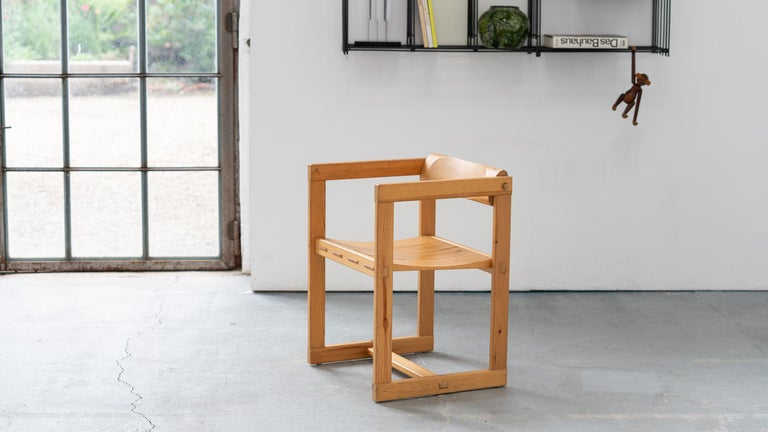 Dining chair in massive pine by Edvin Helseth, 1964 for Trybo Furniture. Made in Norway.  The