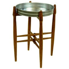 Scandinavian Circular Teak Side Table with Metal Tray Top by Poul Hundevad