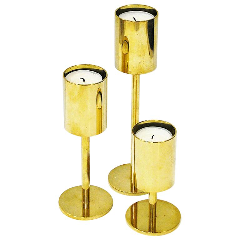 Scandinavian Classic and Beautiful Brass Candleholder Set, 1970s