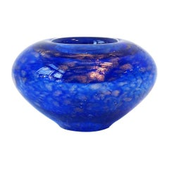 Scandinavian Cobalt Blue Art Glass Votive Candle Holder