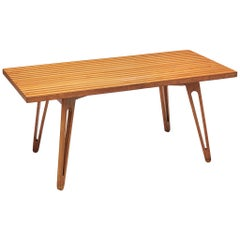 Scandinavian Coffee Table in Ash with Striped Top and Organic Legs