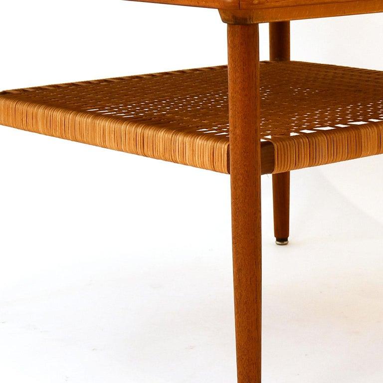 Mid-Century Modern Scandinavian Coffee Table Teak 1960s in Manner of Grete Jalk Wicker Work For Sale