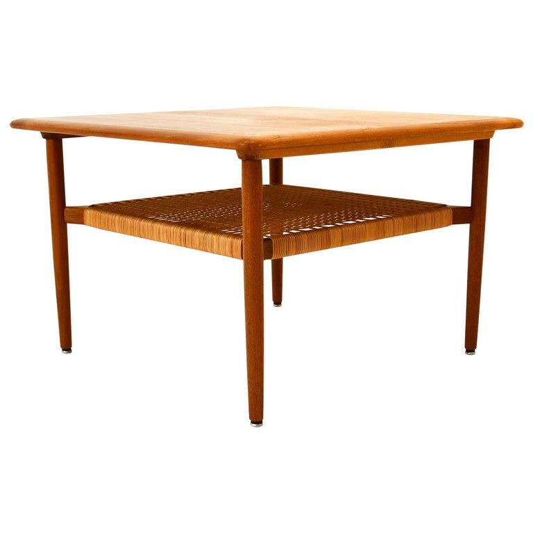 Scandinavian Coffee Table Teak 1960s in Manner of Grete Jalk Wicker Work For Sale