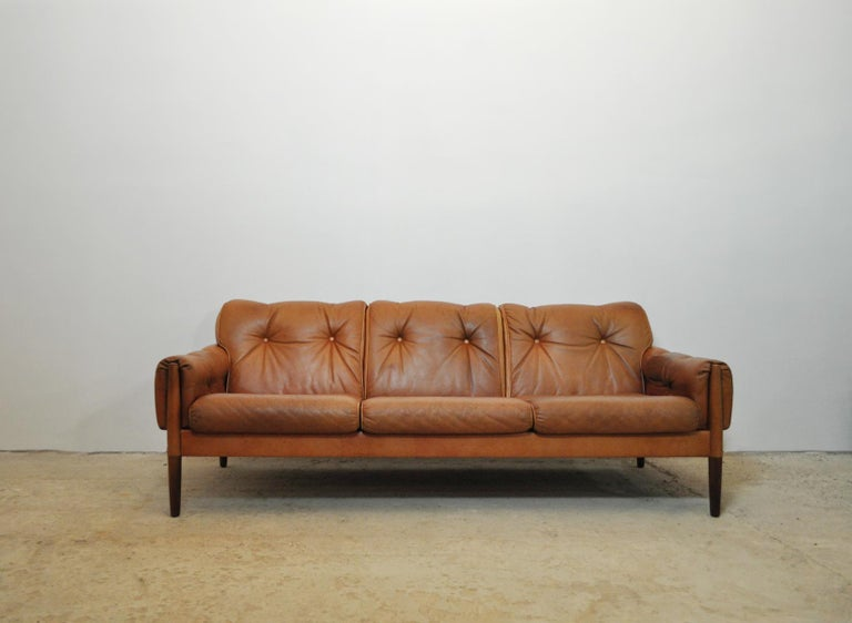 Scandinavian Cognac Brown Leather And Rosewood 3 Seat Sofa