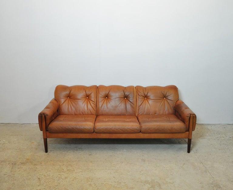 Scandinavian Cognac Brown Leather and Rosewood 3-Seater Sofa