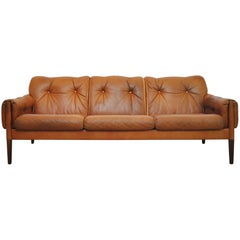 Scandinavian Cognac Brown Leather and Rosewood 3-Seater Sofa