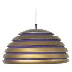 Scandinavian Copper and Purple Metal Hanging Lamp, 1960s