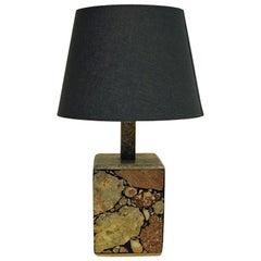 Scandinavian Cubeshaped Stoneware Table Lamp, 1970s