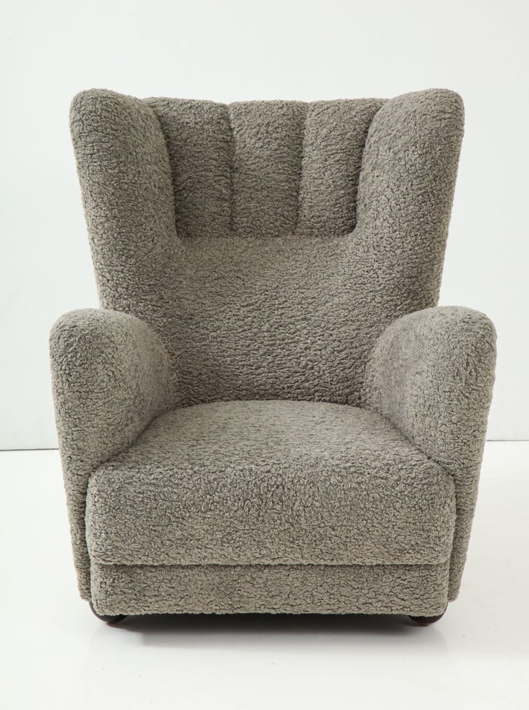 1930s Scandinavian tall club chair upholstered in grey faux shearling with dusk grey velvet reverse.