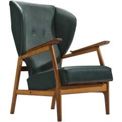 Scandinavian Deep Green Wingback Chair