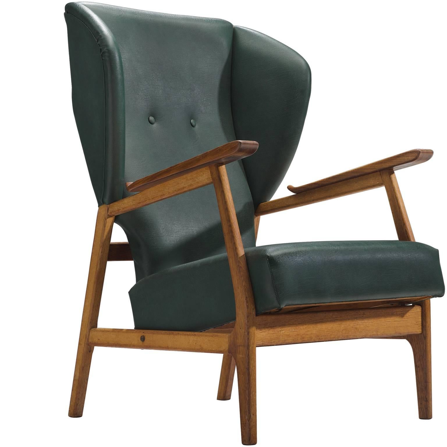Scandinavian Deep Green Wingback Chair For Sale