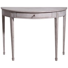 Scandinavian Demilune Console Table with One Drawer