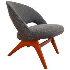 Scandinavian Design, Armchair, 1970s, Wool, Beech, Completely Restored