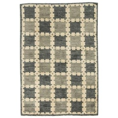 Scandinavian Design Geometric Gray Hand Knotted Wool Pile Rug