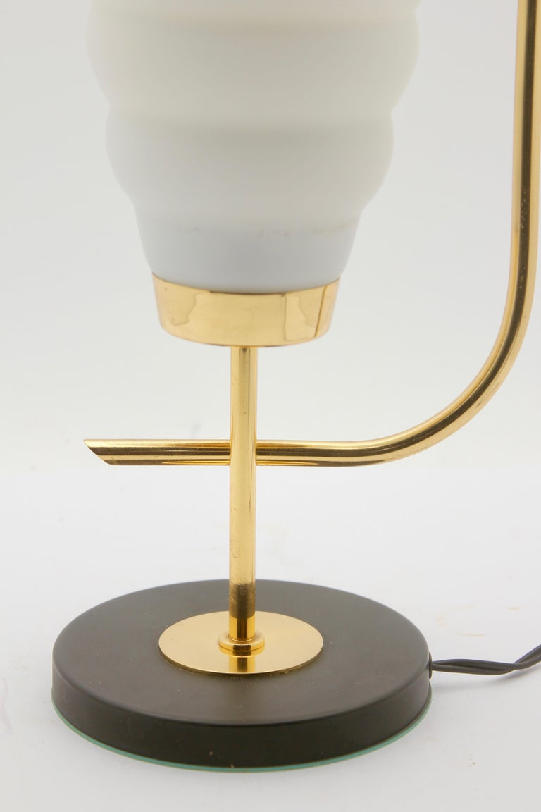 Hand-Crafted Scandinavian Design Table Lamp with Milk-White Glass Shade and Brass Mounts For Sale