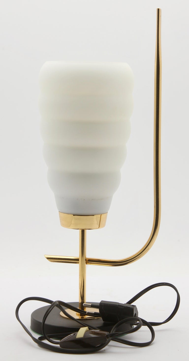 Late 20th Century Scandinavian Design Table Lamp with Milk-White Glass Shade and Brass Mounts For Sale
