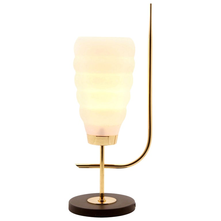 Scandinavian Design Table Lamp with Milk-White Glass Shade and Brass Mounts For Sale