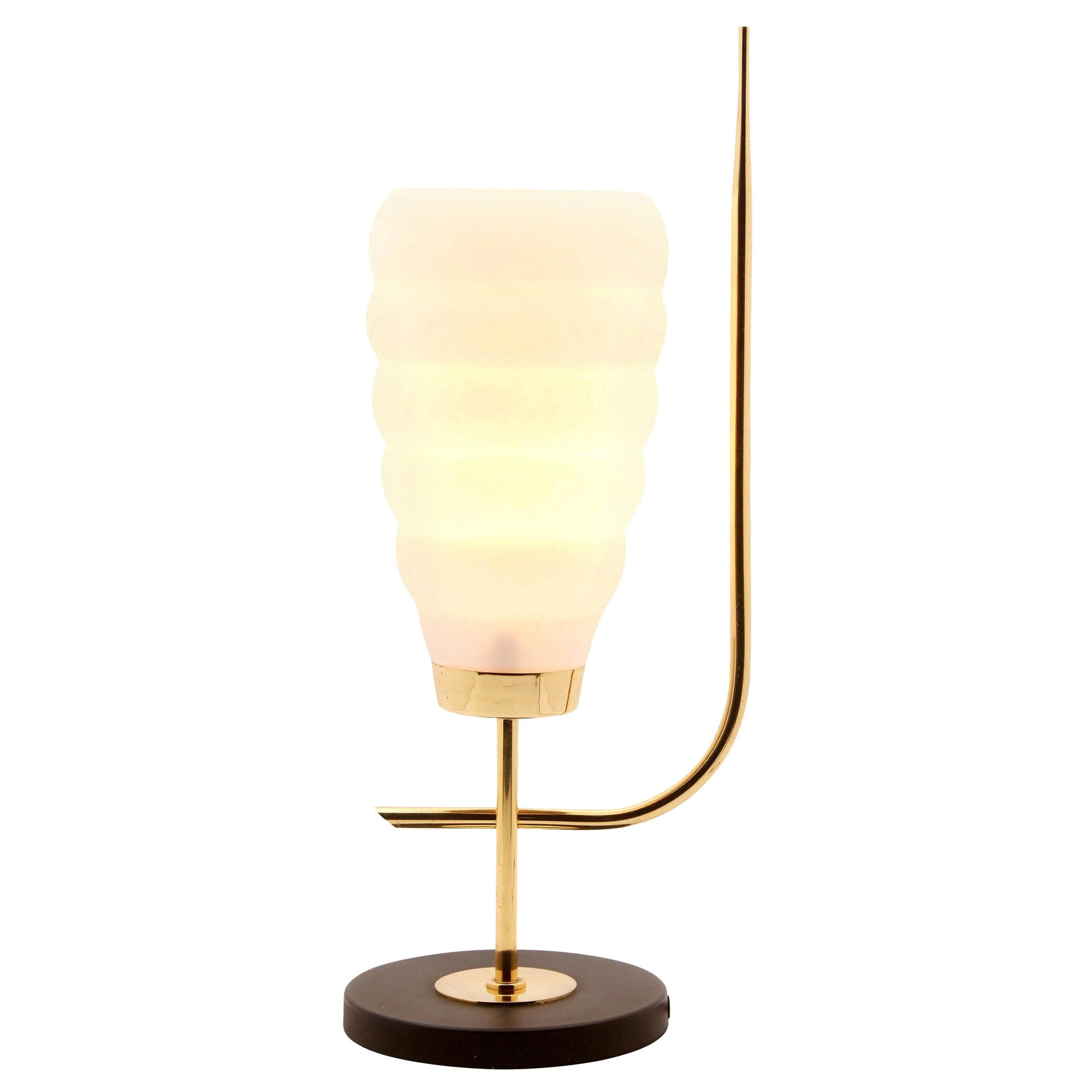 Scandinavian Design Table Lamp with Milk-White Glass Shade and Brass Mounts