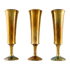 Scandinavian Design, Three Vases in Brass, 1960s