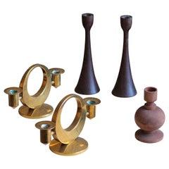 Scandinavian Designers, Small Candlesticks, Brass, Wenge, Pine, 1960s