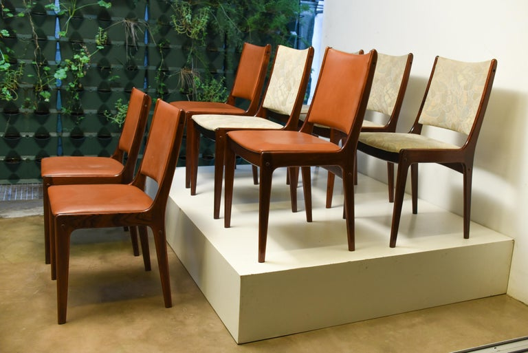 Mid Century Set of eight Scandinavian dining chair in rosewood, 1960s.