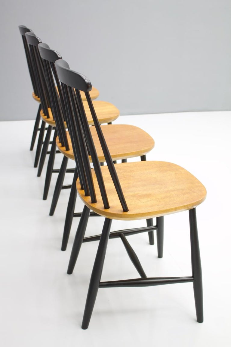 Swedish Scandinavian Dining Wood Chairs by Nesto Sweden, 1950s For Sale