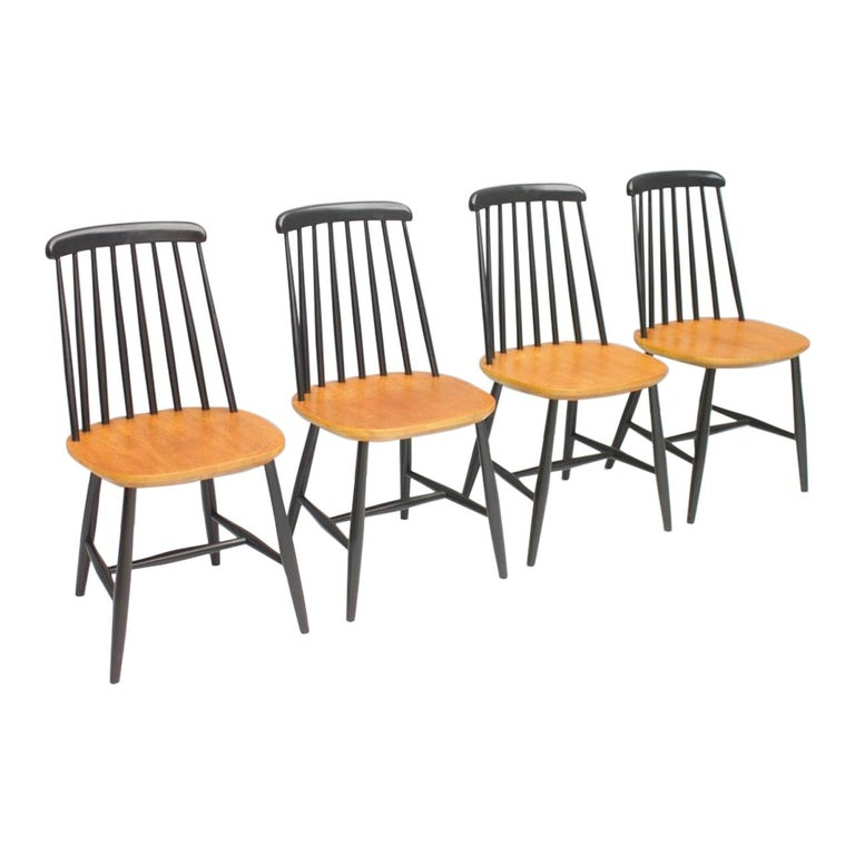 Scandinavian Dining Wood Chairs by Nesto Sweden, 1950s For Sale