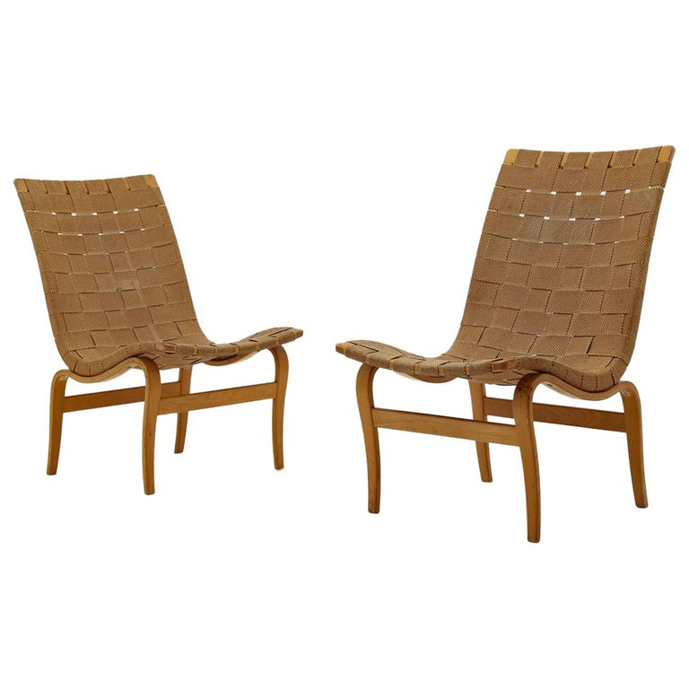 "Scandinavian Easy Chairs ""Arbetsstolen"" by Bruno Mathsson, 1940s For Sale"
