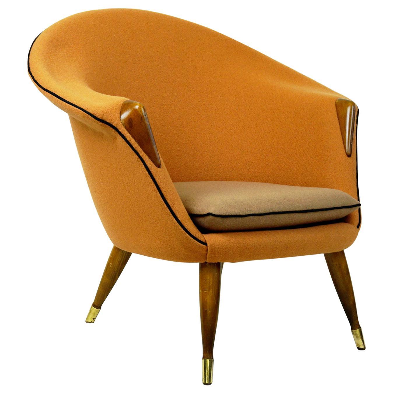 Scandinavian Elm Lounge Chair with New Soft Orange Kvadrat Wool Fabric