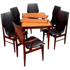 Scandinavian Extendable Dining Table with Six Chairs, Denmark, 1950, Teak Wood