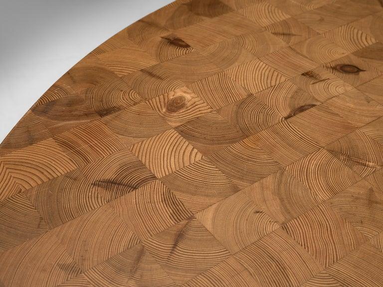 Scandinavian Extendable Pine End-Grain Table For Sale 5