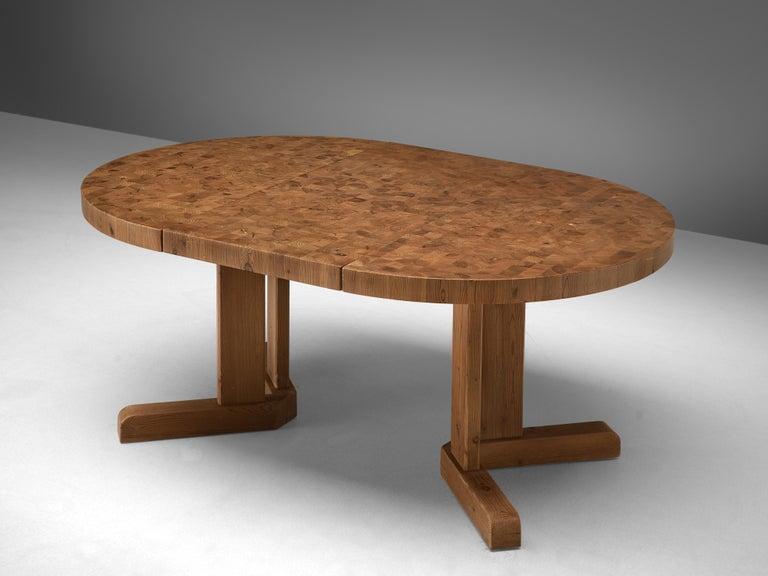 Scandinavian Modern Scandinavian Extendable Pine End-Grain Table For Sale
