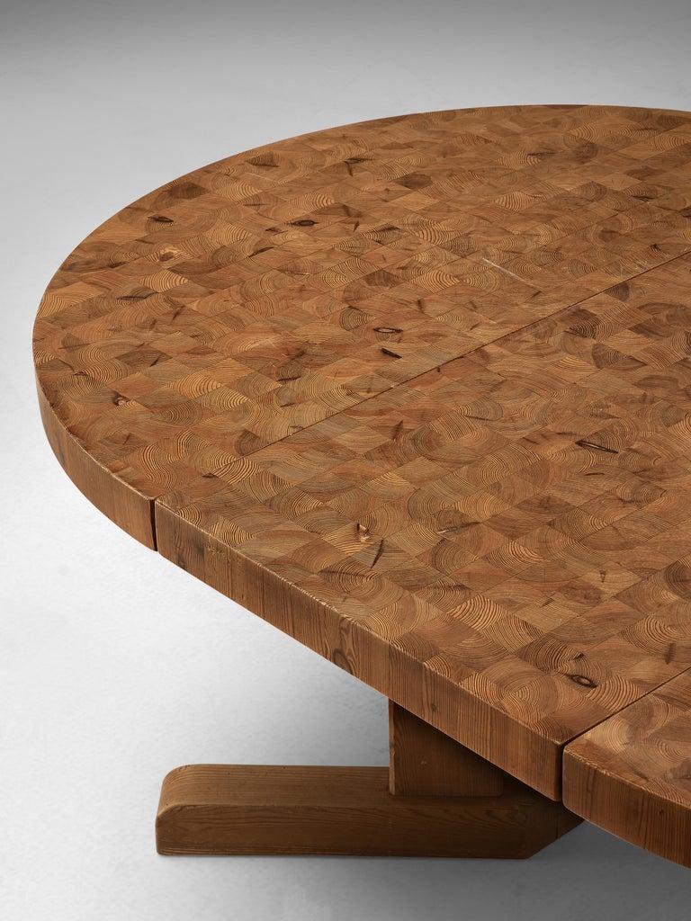 Danish Scandinavian Extendable Pine End-Grain Table For Sale